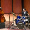 Ted Edeson and Steve Biondo play bass and drums for the jazz group OrganiZm in Morgan Auditorium. Gayle Serdan (not pictured) completed the trio on Hammond B3 Organ. Edeson, Biondo and Serdan all graduated from the University.