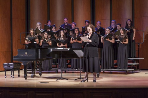 "The University of La Verne Chamber singers perform Choral Classics on Sunday in Morgan Auditorium. Headed by Music Department Associate Carol Stephenson,  among the program was the piece ""Alleluia"" by Randall Thompson. / photo by Keenan Gilson"