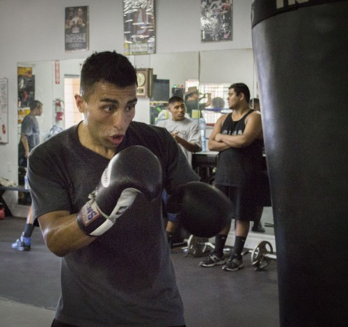 Paul Huguez, a boxer for five years, gets in some workout time at the Ace of Spades boxing club located 1904 Arrow Hwy., directly south of the University of La Verne. The youth and adult boxing is 4 p.m. to 8 p.m. Monday through Friday. / photo by Amanda Nieto