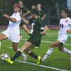 Freshman forward Alexa Smith cuts between sophomore midfielder Jackie Elzakhem and junior forward Tara Tarazoff from Benedictine to steal the ball in the first half of the Leopards' 2-0 victory Sunday at Ortmayer Stadium. La Verne sent the Eagles back to Lisle, Illinois, without a goal. Junior midfielders Kelsey Varner and senior JJ Weaver led the team to win with their goals. / photo by Megan Peralez