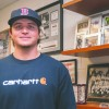 Catcher for the University of La Verne baseball team, Joe Winterburn, visits his father, baseball head coach Scott Winterburn's office. The Boston Red Sox drafted Winterburn as a catcher during the 2014 Major League Baseball First-Year Player Draft, being the 41st Leopard to be drafted into MLB history. He will practice with the Red Sox in Florida this spring./ photo by Mariela Patron