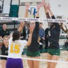 La Verne sophomore middle blocker Cassie Thompson and junior outside hitter Brittany Yaxley block the ball from Nazareth College senior outside hitter Kassandra Buseck. The Leopards defeated the Golden Flyers in three sets./ photo by Kaung Myat Tun