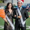 Senior biology major Evelyn Bobbitt from Iota Delta sorority and senior communications major Jose Serra from Sigma Alpha Epsilon fraternity were elected Homecoming Queen and King for 2014 during halftime at the football game against Redlands Saturday./ photo by Emily Bieker