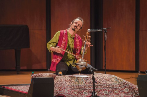 Mehdi Bagheri, composer and master of the kamanche, plays Saturday in Morgan Auditorium along with Peter Hanna and Robert Catalano. Bagheri hails from Iran and holds concerts around the world. The kamanche is an Iranian bowed string instrument that is played with a variable-tension bow. He started his musical career as a percussionist playing the tonbak. / photo by Alexandra Arkley