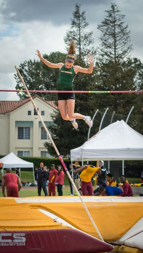 Sophomore Taylor Schulze completes her first jump in the pole vaulting event Saturday at the Burns Track and Field Complex in Claremont. Schulze tied for second place with teammate Taylor Bernhard – both clearing a height of 10.06 meters. La Verne will host the first SCIAC Multi-Dual meet Saturday at Ortmayer Stadium and Campus West Multipurpose Field. / photo by Helen Arase