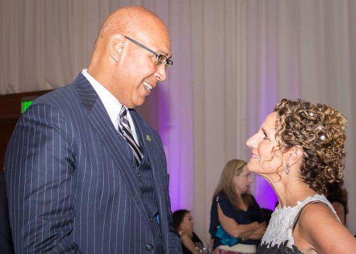 State Assemblyman Chris Holden (D-Pasadena) is welcomed to the University by Devorah Lieberman before dinner. / photo by Helen Arase