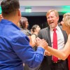 Faculty of Modern Languages Jose Perez-Gonzalez cuts into Provost Jonathan Reed and wife Annette Reed's dance at the University of La Verne's Scholarship Gala. Many administrators, faculty and staff were seen on the dance floor together. The Scholarship Gala '15 was held at the Sheraton Fairplex Conference Center Saturday. / photo by Helen Arase