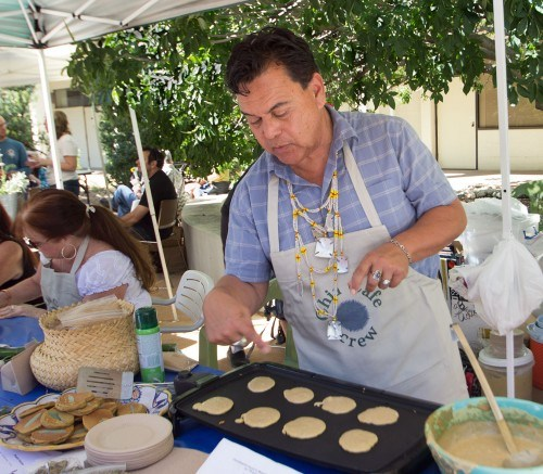 Abe Sanchez makes pancakes using mesquite flower and sage leaves at the California Native Sage Festival at the Rancho Santa Ana Botanic Garden in Claremont. Sanchez states that mesquite helped Native Americans survive because it has a high nutritional value. Sanchez is part of a group known as the Chia Café. They attend different festivals to do cooking demonstrations of California native foods that tribes from the area would have used in the past.  / photo by Celene Vargas