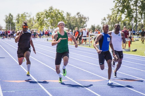 Junior Nick Gonsalves places third in his heat for the 100-meter dash at the Pomona-Pitzer Invitational Saturday at Strehle Track. Gonsalves' time of 10.95 seconds tied his season record, earning him 13th place overall in the men's 100-meter dash./ photo by Celine Dehban