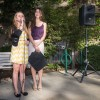 Newly elected Associated Students of the University of La Verne President and Executive Vice President, junior Lauren Crumbaker and sophomore Nicole Cuadras, make an announcement immediately after the election results were given Wednesday afternoon at Fasnacht Court./Daniel Torres