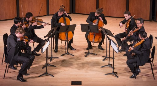 The New Orford String Quartet was joined on stage by members of Street Symphony for a performance of Felix Mendelssohn's Octet at Morgan Auditorium, Monday evening. The Canada-native New Orford String Quartet picked up where the historic original Orford String Quartet left off, performing Canadian works old and new, along with obscure pieces from the last century. The New Orford String Quartet has performed for over 26 years on six continents. Street Symphony is making their mark in the music world by dedicating their time to performing for the incarcerated, homeless and mentally ill in downtown Los Angeles. photo by / Daniel Torres