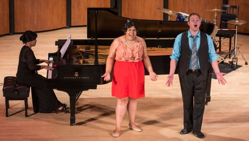 """Pianist Jennifer Cruz accompanies mezzo-soprano, Vicky Campos, and baritone, Stephenson Holder, for the song """"First Date/Last Night"""" from the musical Dogfight as a part of the Best of La Verne's Music Faculty and Students recital at Morgan Auditorium Sunday, May 3. The recital included classical, jazz, and popular pieces performed by faculty of the music department and performance scholarship recipients/students."""