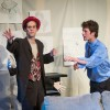 "Sottile (junior theater major Alex Freitas) shares his struggling story with the Artist (senior theater major Cole Wagner) in the play ""Mission Selvaggio."" Directed by Cody Goss, ""Mission Selvaggio"" is about an artist who is inspired by the fictional characters he draws and changes his life after meeting them. ""Mission Selvaggio"" will be performed 7:30 Friday and Saturday in the Jane Dibbell Cabaret. Admission is free. / photo by Michelle Leon"
