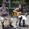 "Freshman music major Andrew Medina and senior sociology major and music minor Jessica Felix perform ""Little Talks"" by Of Monsters and Men Tuesday in Sneaky Park. The jam session was sponsored by the Mu Phi Epsilon fraternity, of which Medina and Felix are members. The concert was open to anyone who wanted to perform. / photo by Celene Vargas"