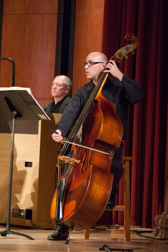 Cellist Rick Mooney accompanies the La Verne Chamber Singers in a concert in Morgan Auditorium that was a culmination of choral music that professor of music Kathy Lamkin taught in her classes during her 34 years at the University of La Verne. / photo by Bailey Maguire