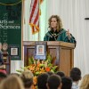 University of La Verne President Devorah Lieberman welcomes the new class of 2019 to the University with her community message and inspirational advice to achieve higher retention rates. Lieberman's speech followed convocation speaker Loren Dyck.  / photo by Helen Arase