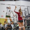 La Verne senior outside hitter Brittany Yaxley returns the ball against Chapman sophomore middle blocker Ali Robinson for a point to take an early lead in the third set of the match Saturday at Frantz Athletic Court. After losing a seven-point lead in the first set, the Leopards were able to dominate the Panthers in the next three sets, as they sealed the win, 3-1. With the win, La Verne managed to end Chapman's undefeated record in Southern California Intercollegiate Athletic Conference play. Yaxley led the team with 16 kills and 16 digs. / photo by Daniel Torres