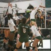 La Verne freshman outside hitter Delaney Lynch prepares to spike the ball against UC Santa Cruz outside hitter Tatum Novitskyjunior middle blocker as Kelsi Robinson, freshman libero Kristen Sanchez and freshman setter Madison Hickey watch in the second set Saturday at Frantz Athletic Court. The Leopards ultimately squished the Banana Slugs, 3-0, in game one of the Leopard Invitational. Later that day, the Leopards fell short to the Juniata Eagles, 3-1. / photo by Kristina Bugante