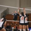 With La Verne and Pomona-Pitzer tied at 17 in the first set, Leopards' senior outside hitter Ashlyn Cross makes the second of back-to-back kills past Sagehens junior outside hitter Stephanie Sun, senior middle hitter Emma Burdekin and sophomore setter Jessica Finn, to give La Verne a 19-17 lead. Both teams went back-and-forth in attempts to take the lead throughout each set, but the Sagehens prevailed and broke the Leopards' three-game win streak. La Verne was swept by Pomona-Pitzer, 3-0, Tuesday at Voelkel Gymnasium. / photo by Jolene Nacapuy