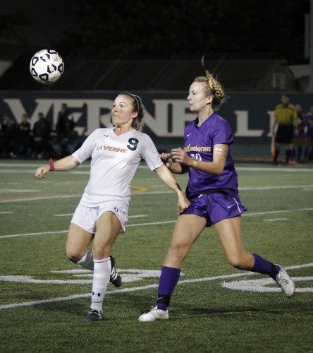 Cal Lutheran sophomore midfielder Kali Youngdahl attempts to steal the ball from La Verne senior midfielder Cassidy Schweiger in the first half of Saturday's game at Ortmayer Stadium. The Leopards rallied in the last minute, but were stopped by the Regals defense. La Verne fell short, 2-1, on senior night, the last game of the season./ photo by Jolene Nacapuy