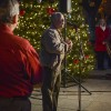 Mayor Don Kendrick speaks to a crowd of La Verne residents following the eighth annual Christmas tree lighting in Mainiero Square Saturday./ photo by Daniel Torres