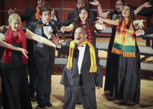 "ULV Chamber Singer Ernie Reyes takes center stage for his solo from the a capella group Straight No Chaser's arrangement of ""12 Days of Christmas"" in the music department's Wondrous Holiday Spectacular concert Sunday in Morgan Auditorium. He is surrounded by fellow Chamber singers Brianna Nemback, David Vorobyov, McKinley Pollock, Micah Madrid, Sarah Alonzo, Megan Hurst and Lorali Mossaver-Rahmani. The concert was conducted by Director of Choral Studies Irene Messoloras."