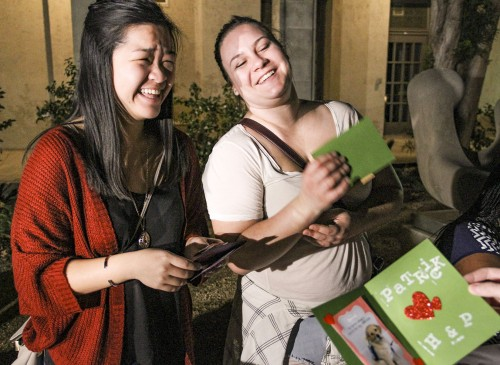 Senior accounting major Jenny Nguyen and University of La Verne alumna Megan Soucy visited the Pomona College Museum of Art's third annual GALentine's Day Feb. 11. Women of all ages gathered around tables cluttered with crafting paper, rubber stamps, and glittery foam stickers used to make Polaroid picture grams. The event was part of Art After Hours, a weekly event coordinated by Justine Bae./ photo by Ashlyn Hulin