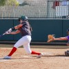 La Verne freshman second baseman Carly Condon bats at the bottom of the first inning in the team's first game against Cal Lutheran. The Leopards fought the Regals hit after hit, and swung away with the 5-4 win Saturday at Campus West./ photo by Nadira Fatah