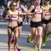 La Verne alumna Lenore Moreno competes in the U.S. Olympic Marathon trials Saturday in Los Angeles. With the Los Angeles heat beating down, Moreno was in 47th place after mile one. At mile nine, Moreno ran side by side with Tori Tyler, who dropped from the race at mile 14. By mile 20 she was in 13th place. She held her place for the next six miles to finish 13th of 149 women. Moreno finished with a personal best time of 2:39:44.  / photo by Emily Bieker