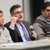 "Taif Kaissi, co-founder of Medical Network Devoted to Service, a nonprofit mental health service for the Muslim community, recalls the discrimination his family faced after 9/11 at ""Different Faces, Same Fears,"" a discussion panel, Feb. 19 in LaFetra Hall. He was joined by freshman business administration major Maribel Hernandez and alumnus Tahil Sharma./ photo by Kendra Craighead"