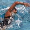 La Verne senior Karla Fuertez swims in her last Southern California Intercollegiate Athletic Conference Swimming and Diving Championship tournament Sunday at Splash! La Mirada Regional Aquatics Center. Fuertez competed in the women's 1,650-yard freestyle and finished eighth overall with a time of 17:54.74./ photo by Donna Martinez