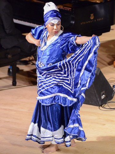 """Havana native Kati Hernandez performed to Afro-Cuban folkloric music Sunday in Morgan Auditorium. Los Angeles-based SitaraSon accompanied her with traditional Cuban and Latin Dance music, as part of the Sundays at theMorgan concert series. The next in the series, """"Ode to Ireland and Irish Music,"""" will be March 6. Suggested donation $20, students are free./ photo by Jerri White"""