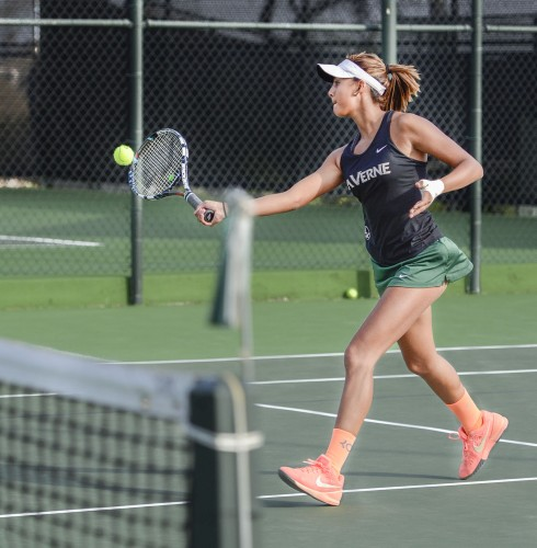 La Verne junior Areli Martinez lost in her singles match to Christopher Newport sophomore Claire Dockdrill, 7-2, Sunday at the Claremont Club. The Leopards won only two singles matches and were bested by the Captains, 7-2./ photo by Jerri White