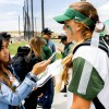 Campus Times Sports Editor Jolene Nacapuy interviews La Verne senior third baseman Mackenzie Dutton after the softball game Friday at Campus West. The Leopards defeated the Whittier Poets, 8-0, in five innings in the first game of the 2016 Southern California Intercollegiate Athletic Conference Championship Tournament to advance to the winner's bracket in the semifinals./photo by Donna Martinez