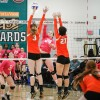 Senior outside hitter Kaylee Johnson sends over a spike while Caltech freshman middle blocker Julia Fay and opposite senior hitter Suzannah Osekowsky attempt to block. The Leopards defeated the Beavers, 3-0, Tuesday at Frantz Athletic Court. / photo by Annette Paulson