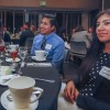 Maiya White, freshman international studies major; Ben Camacho, senior journalism major; and Kassandra Dominguez, senior communications major; chat before eating at the Networking and Etiquette Dinner presentation Nov. 3 in the Campus Center Ballroom. Ben Dewald, a professor at the Collins College of Hospitality Management at Cal Poly Pomona, was the host and lectured on how to maintain etiquette while at a business meeting or interview. / photo by Donna Martinez