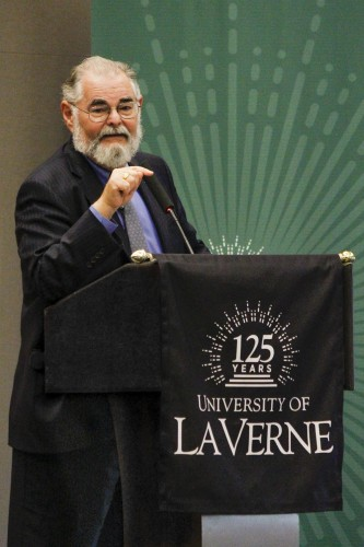 """The University of La Verne in partnership with the Jewish Federation invited author Jonathan Kirsch to speak in honor of the 78th anniversary of Kristallnacht. Kirsch discussed the research he conducted, which led him to his new book """"The Short Strange Life of Herschel Grynszpan,"""" Saturday in the Campus Center Ballroom. / photo by Kathleen Arellano"""