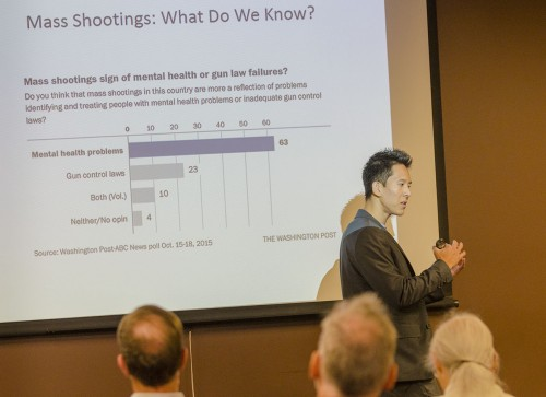 Assistant Professor of Sociology Roy Kwon discusses the socioeconomic determinants of mass shootings Tuesday in the Presidents Dining Room. In his research Kwon found that half of all mass shootings occur in public places. His talk was part of the weekly faculty lecture series. / photo by Sarah Vander Zon