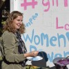 Senior business administration major Delaney Poe paints on the graffiti wall Tuesday in Sneaky Park as part of her honors senior project focused on feminism and the struggles women face. Poe's project also included a panel of speakers, who provided students with more information on women's empowerment Wednesday in La Fetra Lecture Hall.