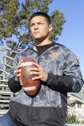 Alex Arellano, senior criminology major, transferred to La Verne during his sophomore year and played football as a Leopard for three years. The senior holds the La Verne all-time record with 124 pass receptions. Arellano and three other La Verne football players flew to Monterrey, Mexico, to play on Team USA All-American Eagles in the Aztec Bowl. / photo by Gabriella Chikhani