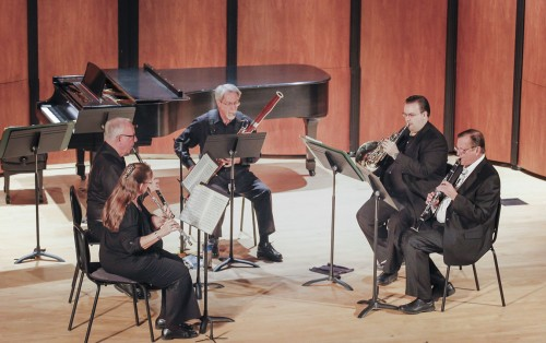 """The Windswept Woodwind Quintet performs """"Rialto Ripples"""" by George Gershwin at the La Verne Symphony Orchestra's """"Music of the Romantics"""" concert Saturday in Morgan Auditorium. The quintet includes Dennis Robertson on oboe, Jenifer Aragon on flute, David Rothschild on French horn, Jim Hohlfeld on bassoon and David Fisher on clarinet. / photo by Berenice Gonzalez"""