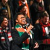 "Preston Parker, sophomore broadcast major, performs ""Go Where I Send Thee,"" arranged by Andre Thomas, at the La Verne Church of the Brethren Sunday. The Choral Holiday Spectacular concert conducted by University of La Verne Assistant Professor of Music Irene Messoloras featured the University Chorale and Chamber Singers and included a variety of holiday music. / photo by Annette Paulson"