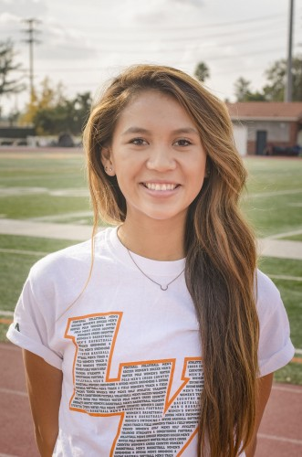 Senior business administration major Melissa Cerrillos broke the University of La Verne's record for the 800 meter dash with a time of 2:16.26 in May at the Occidental Invitational. Cerrillos beat the previous record of 2:17.79, which was set by alumna Alysse Thummel at the 2014 Southern California Intercollegiate Athletic Conference Championships. / photo by Sarah Vander Zon
