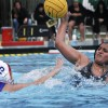 Catherine Tehuitzil strikes the ball toward the goal while being attacked by Jillian Benson (No. 15) from the Macalester Scots on Saturday at the La Verne Aquatics Center. Lindsay Jones, the Leopards' goalkeeper, had 15 saves. The first quarter started off for La Verne with a goal by Elizabeth Roberts. Diane Aguayo tied the game in the third quarter taking them into overtime. Catherine Anderson eventually scored the winning goal for the Scots, giving them a 3-2 win over the Leopards. / photo by Sherazad Shaikh