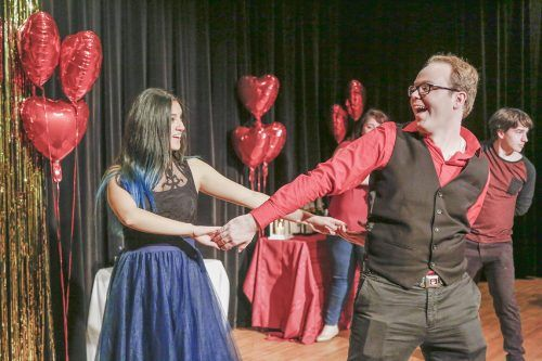 Freshman art history major, Jane Duran and Senior Theater major, Wayne Keller III learn swing dancing in the Jane Dibbell Cabaret, Feb. 14. The event was part of the Spring 2017 Cabaret series presented as a platform for students to express themselves./ photo by Megan Peralez