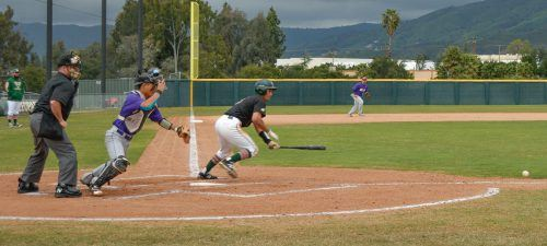 La Verne outfielder Isaiah Cruz bunts for a shot at first base against Cal Lutheran during the second game of a doubleheader Sunday at Ben Hines Field. Sophomore pinch hitter Christopher Ligot drove in the go-ahead run in the bottom of the eighth inning as the Leopards beat the Kingsmen, 3-2, in the first game. Despite a rocky start to game two, La Verne pulled ahead, winning 5-4. La Verne gave up just five earned runs and two walks in 18 innings on the day.