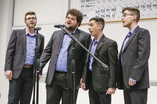 Acapella group Overnight performs a series of tags – small pieces of songs sung acapella by a group at varying pitches – at the Barbershop Quartet Club's tag contest Tuesday in the La Fetra Lecture Hall. The group includes Fullerton resident Brandon McNabb, senior music major Garrison Holder, alum David Vorobgov and Cal Poly Pomona student Nicholas Bratcher.
