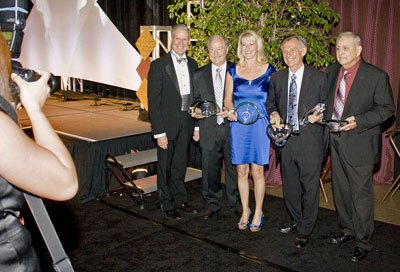 After the awards presentation, President Steve Morgan, La Verne City Council members Don Kendrick and Donna Nasmyth, Mayor Jon Blickenstaff and Council member Robert Rodriguez pose for a photo by Nancy Newman. This year's President's Gala was held Saturday at the Fairplex Sheraton Suites in Pomona to thank the donors who donated money to the school. The night began with an opening speech by Ciriaco Pinedo and closed with a dance with music provided by the band Sweet-Heat. / photo by Rafael Anguiano