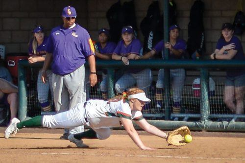 Senior first baseman Alexis Schiff catches a foul ball hit by Makenna Pellerin of Cal Lutheran to get the third out in the top of the third inning March 11. The Leopards conquered the Regals in both games of the doubleheader at La Verne Campus West. / Conor Holahan