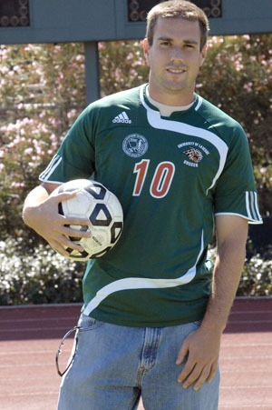 La Verne soccer captain Gilad Hoffman enjoys his final year on the team, as he works toward obtaining his master's in business administration from the University of La Verne. The South African native moved to San Diego until the age of 9 and has been playing soccer ever since. Hoffman graduated from La Verne in 2007 with a bachelor of science degree in psychology. / photo by Leah Heagy